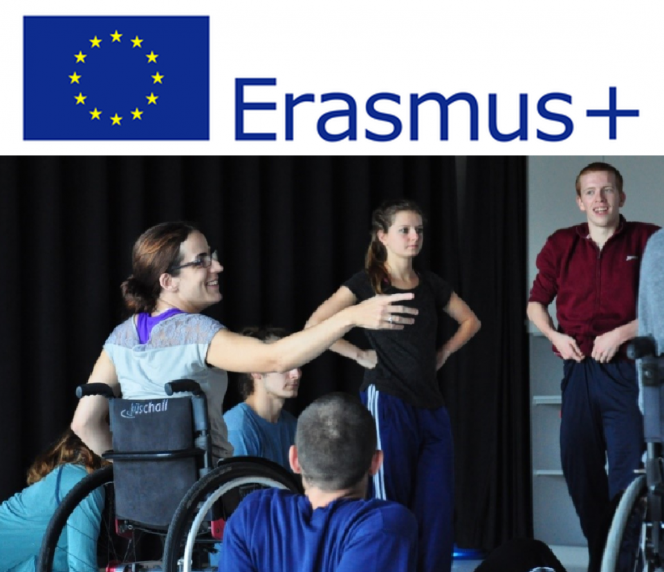 Photo inclusive dance and Erasmus logo